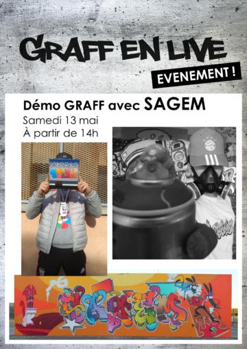 Démo graff avec Sagem / Graff en live / Cultura Portet 2017