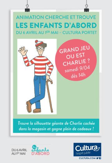 Animation cherche et trouve Charlie - Mois des enfants / Cultura Portet
